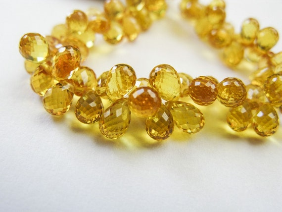 Sapphire Teardrops, AAA Gems, Micro Faceted, 5mm, Yellow Sapphire, 13 Beads