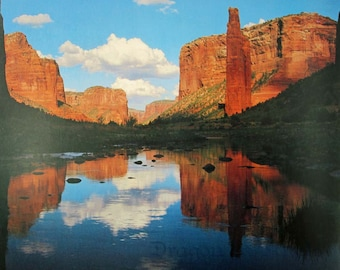 Vintage Poster - Arizona Canyon de Chelly National Monument - David Muench calendar page September - desert southwest nature photography