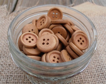 10 Wooden Buttons - Small
