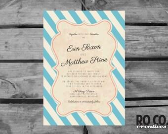 Whimsical Vintage Striped Wedding Invitation & Response Card