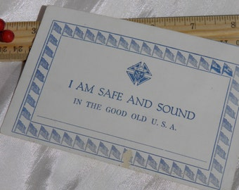 WWI Military Safe and Sound Postcard Knights of Columbus 1919 -I Am Safe and Sound In the Good Old U.S.A.-Soldier American Troops Post Card