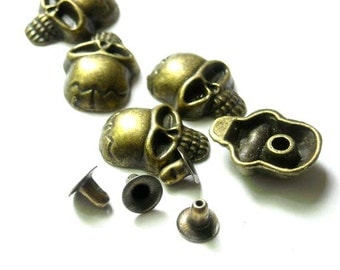 10 Sets Antique Bronze Skull Rivet Studs - 20-R-10