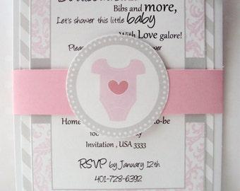 Baby Shower invitation | Onesie Invitation | Onesie Baby Shower Invitation | Pink and Grey Onesie Invitation | Girl Baby Shower Invitation