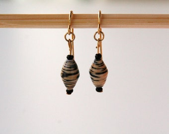 Abstract Leopard Print Paper Bead Earrings