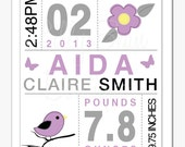 Baby Birth Information Wall Art, Digital, Custom, Girl, Purple and Grey