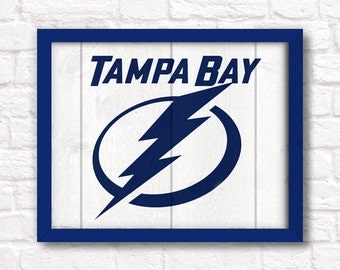 """Tampa Bay Lightning - rustic 16""""x20"""" handmade sign - Tampa Bay Lightning wall sign - Fathers Day gift"""