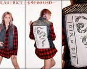 SALE - Join, or Die Studded Denim Vest / Studs / Punk Rock Clothing / Civil War Americana / Jean Vest / Don't Tread on Me
