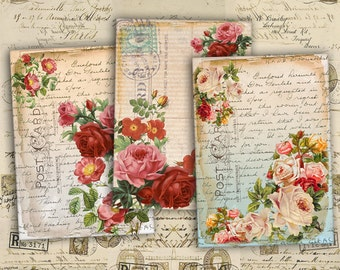 Digital Collage Sheet - Greeting Cards - Digital Backgrounds - Jewelry Holders - Printable Collage - Paper Craft - SHABBY ROSES