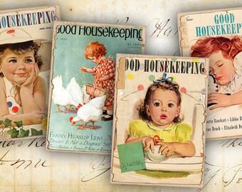 Digital collage sheet Printable gift tags Instant Download Vintage images Paper craft Scrapbook - GOOD HOUSEKEEPING CARDS