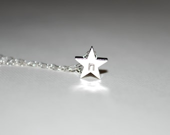 Initial necklace, small silver initial star necklace, sterling silver necklace, personalized necklace, star initial necklace, gift