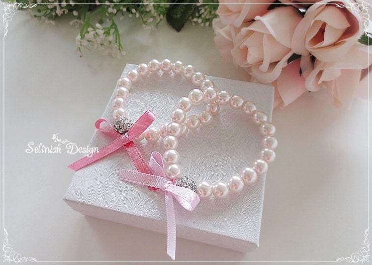 Flower Girl Gift Baskets : Flower girl gifts bracelet pink pearl