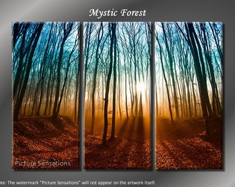 Framed Huge 3 Panel Art Sunshine Rays Mystic Forest Giclee Canvas Print - Ready to Hang