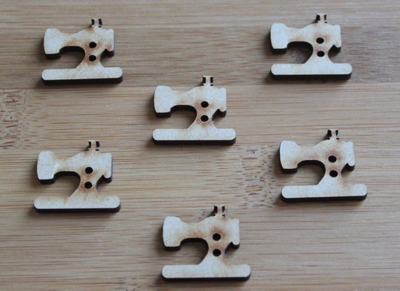 6 Craft Wood Vintage Sewing Machine buttons, 2.6 cm Wide, Laser Cut