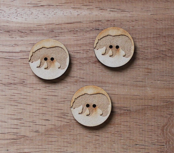 3 Craft Wood Bear Woodland.Round Buttons, 3 cm Wide, Laser Cut Wood