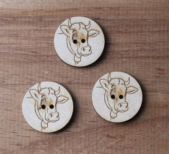 3 Craft Wood Cow Farmyard.Round Buttons, Linework, 3 cm Wide, Laser Cut Wood