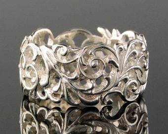 Scroll Style Sterling Silver Ring