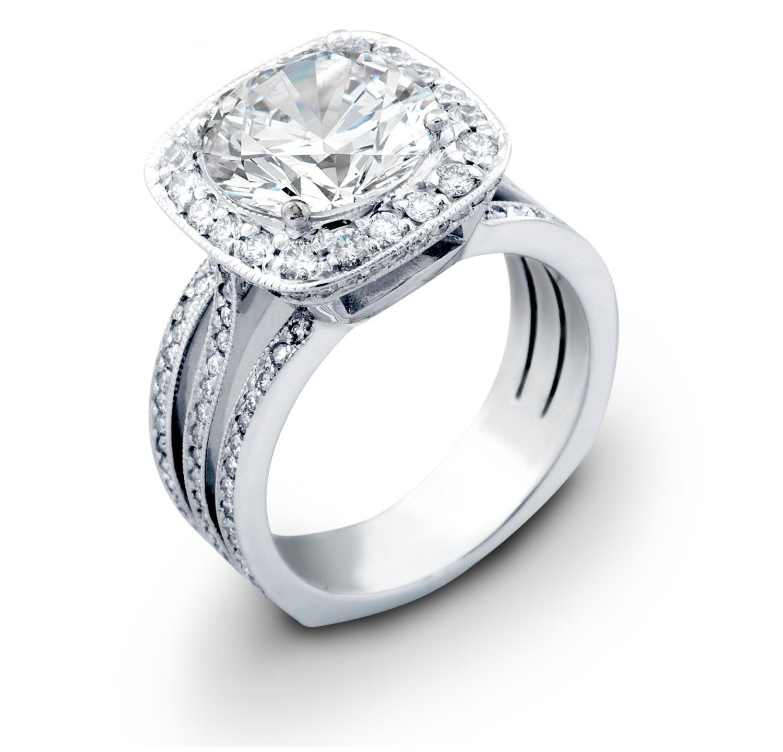 Ladies Platinum Engagement Ring 0.90 Ctw G-VS2 Diamonds With