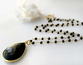 Long Black Onyx Rosary Necklace, Jet Black, Black Gemstone Pendant, Black Spinel, 24 inches long, Gold Vermeil