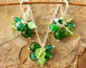 Emerald Green Jewelry Set Jade Green Crystal Cluster Earrings Gift Set Beadwork