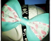 Flamingos Hon: Mint Ribbon Hair Bow with White and Pink Flamingo Center Stripe