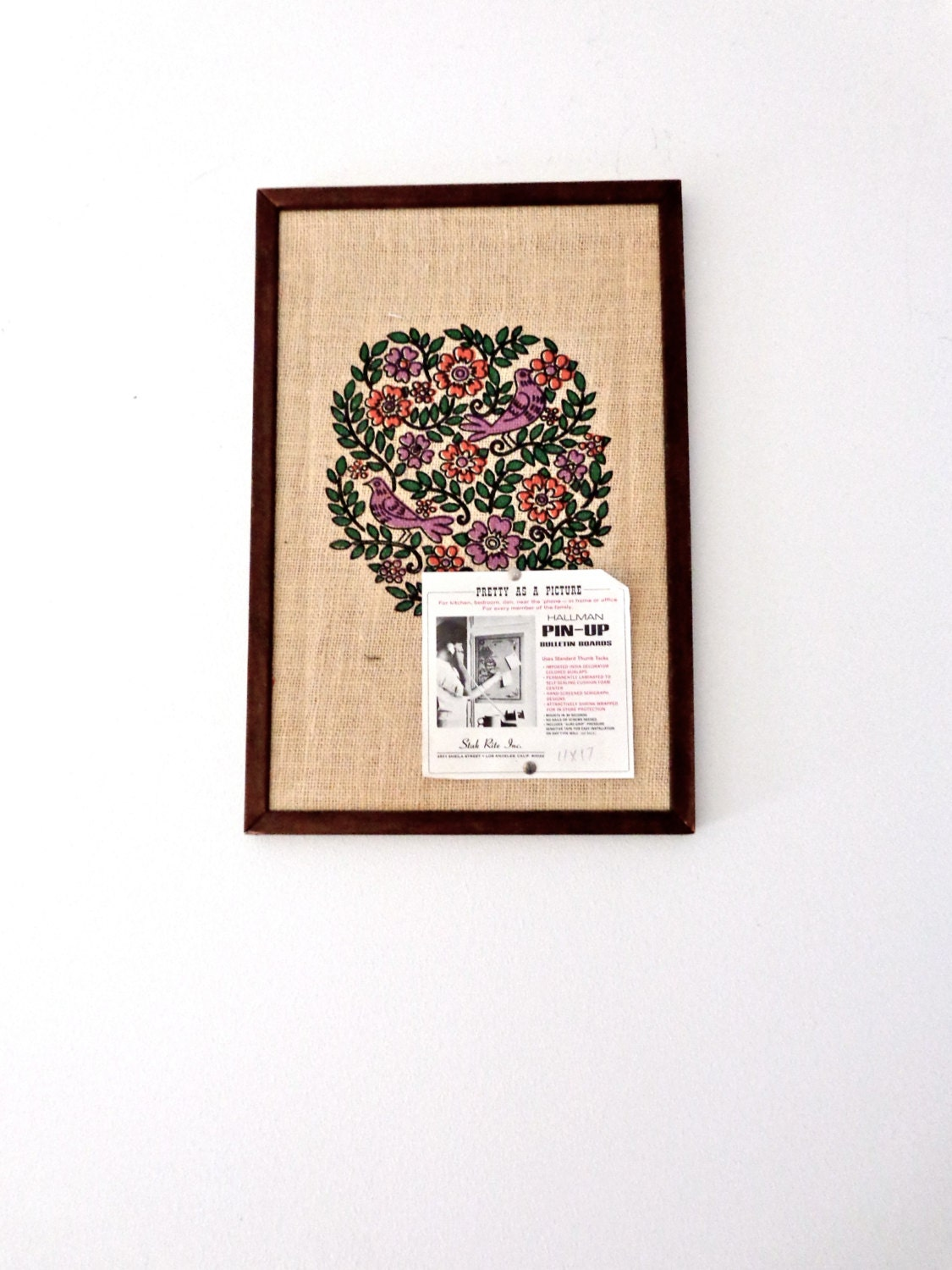 1960s wall home decor pin up bulletin board for Home decor 1960s