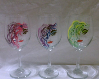 Hand Painted 20 Wine Glass. Wild Girls, Personalize