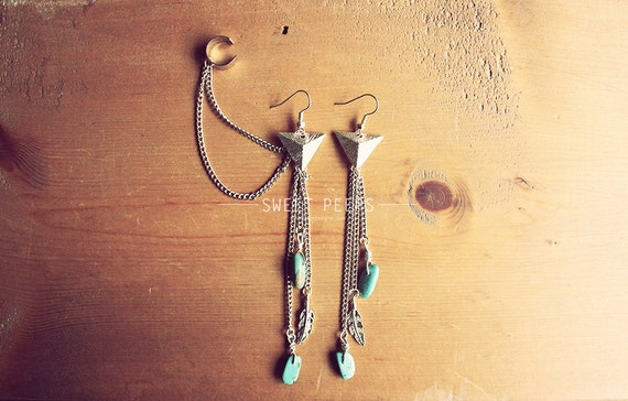 Silver Exotic Dangling Triangle Ear Cuff Set with Delicate Turquoise Stones and Feathers