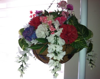 Silk floral hanging basket.