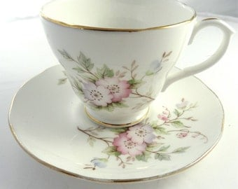 Vintage DUCHESS Bone China Tea Cup, Saucer and Tea Plate flower design