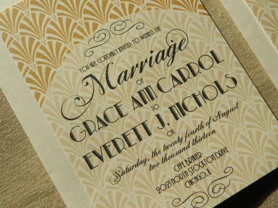 Gatsby Wedding Invites: Gatsby Inspired Art Deco Hollywood Glam Wedding Invitation