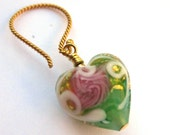 Stunning pale green and gold Venetian 13mm puffed hearts exquisitely decorated on 14kt gold filled wires