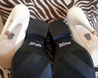 I Do Me Too Shoe Stickers. Clear / Blue Rhinestone He's Mine. She's Mine. Rhinestone Shoe Decals for your Bridal Shoes Something Blue