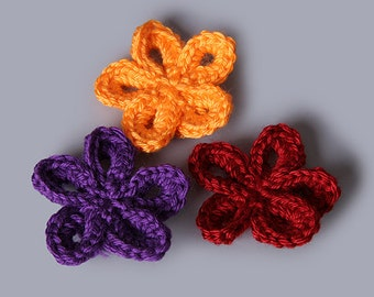 PDF Crochet Pattern File - 5 Petal Accessory Flower