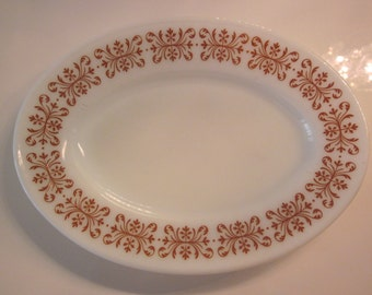vintage Pyrex oval plate in Double Copper Filigree pattern - brown design on white milk glass