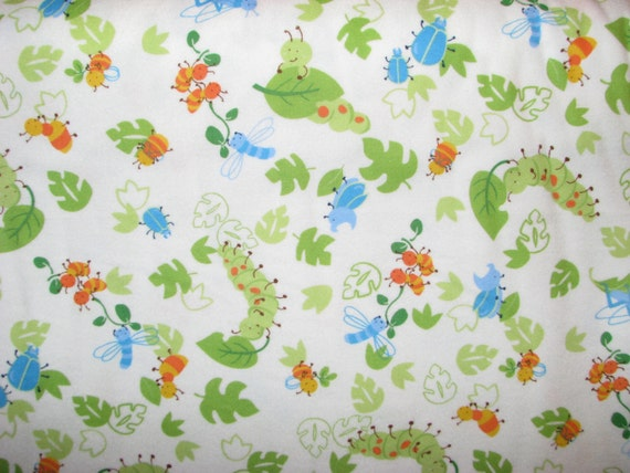 Cutie Bugs flannel fabric caterpillars beetles ants bees