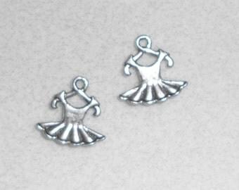 Silver Dance Ballerina Dress Charms
