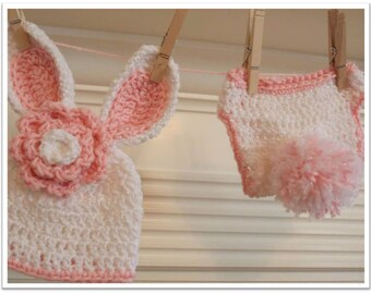 Baby Bunny Hat and Diaper Cover Pattern ... Instant download
