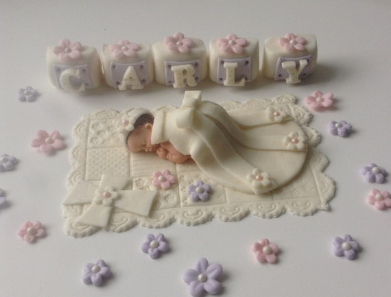 Cake Toppers For Baby Girl Christening : CHRISTENING Baby Girl Cake Topper Fondant by ...
