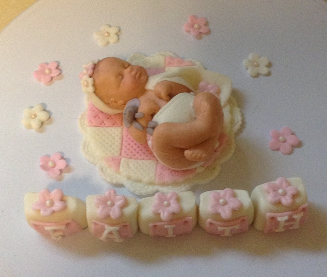 Cake Toppers Baby Girl : FONDANT BABY CAKE Topper Baby Girl Quilt Fondant Cake Topper