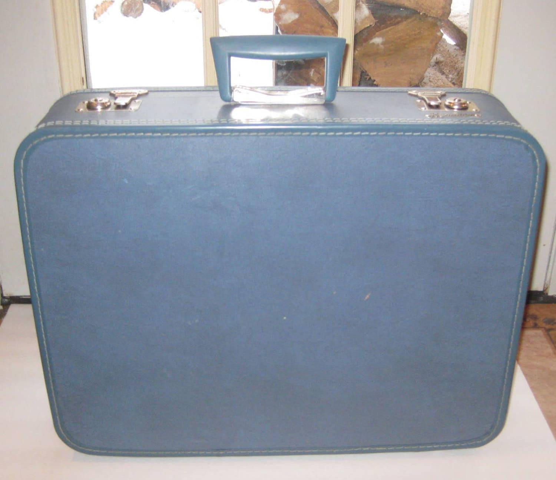 1950s Blue Monarch Suitcase Vintage Luggage Medium Size