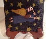 Primitive  Americana Angel Mini Plaque