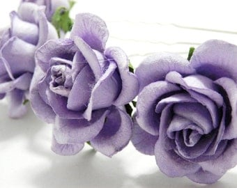 Lavender/ Lilac Rose Floral Hair Pin Set/ Bridal/ Wedding Hair Accessories/ Bridesmaid Hair Pin/ Wedding Flower Pins