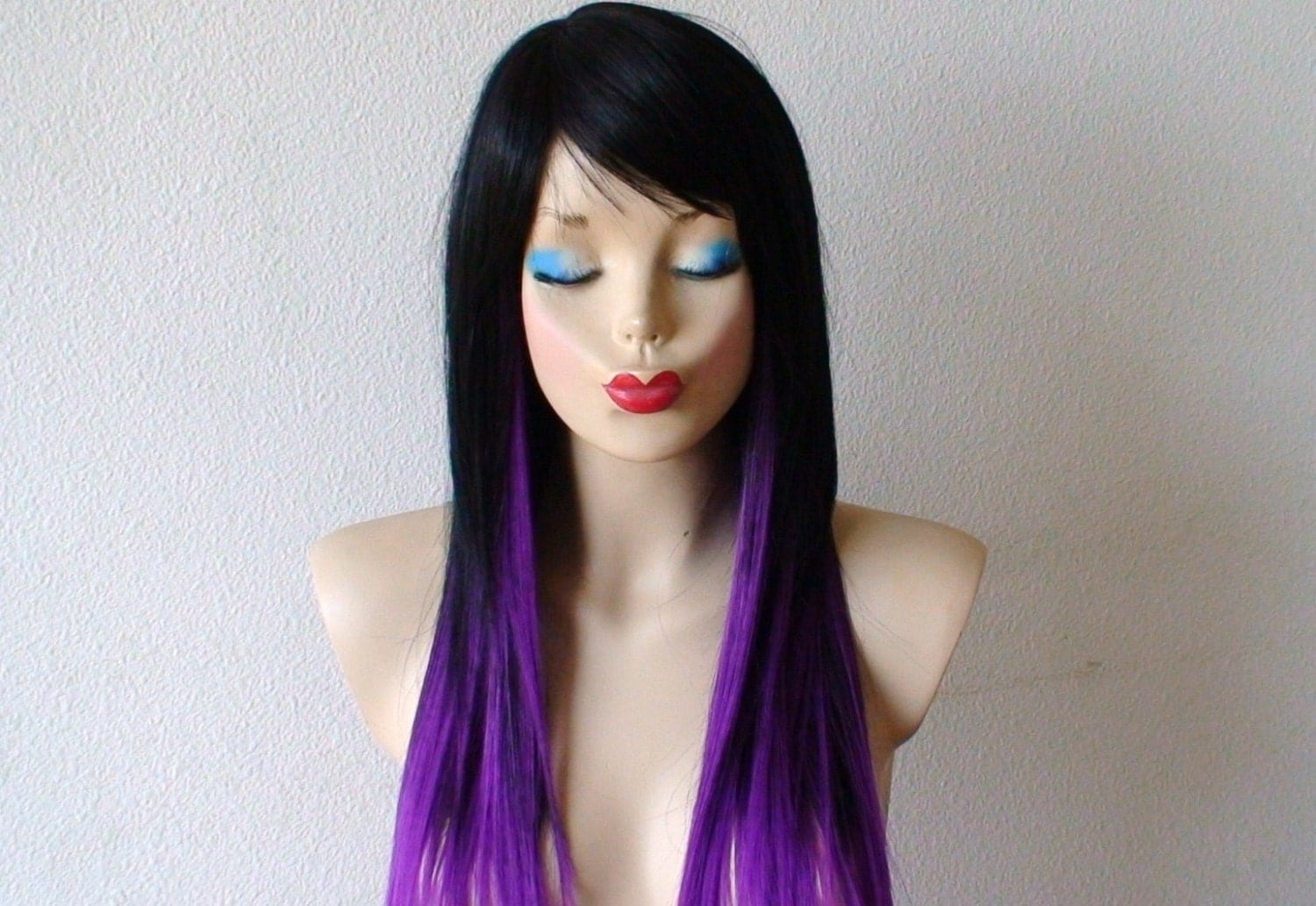 Red Purple Ombre Hair Long straight layered hair