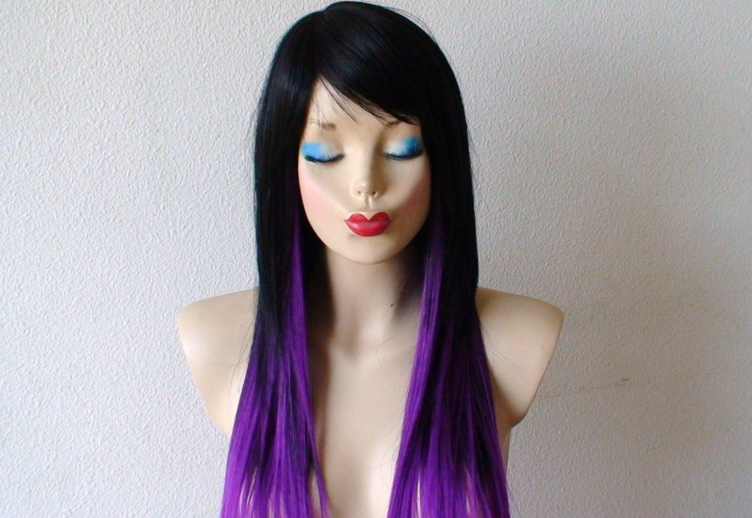 Black / Purple Ombre Wig. Long Straight Layered Hair By
