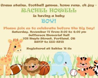 BABY BOY SHOWER Invitation Jungle Safari Zoo Animals & Sports Basketball Baseball Soccer Football
