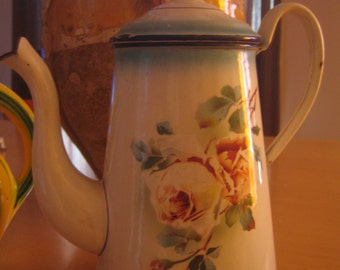 french floral enamelware coffee pot French Rose cafetiere enamelware hard to find