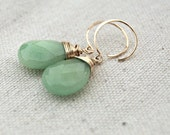 pomme... gold jade earrings / apple green jade & 14k gold filled earrings - AveryBethDesigns