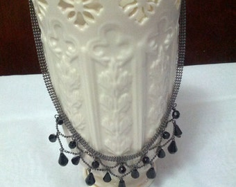 Stunning black beaded dangle choker style necklace set with black coated silver
