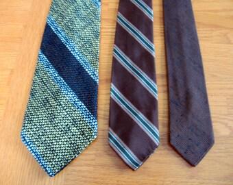 SALE 1970s Set of 3 Vintage Ties in Neutral Browns
