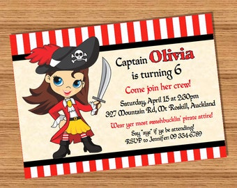Pirate Girl PERSONALIZED pdf or jpg printable pirate party invitation